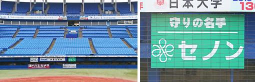 東京ドームのバックネットのフェンスの広告 …